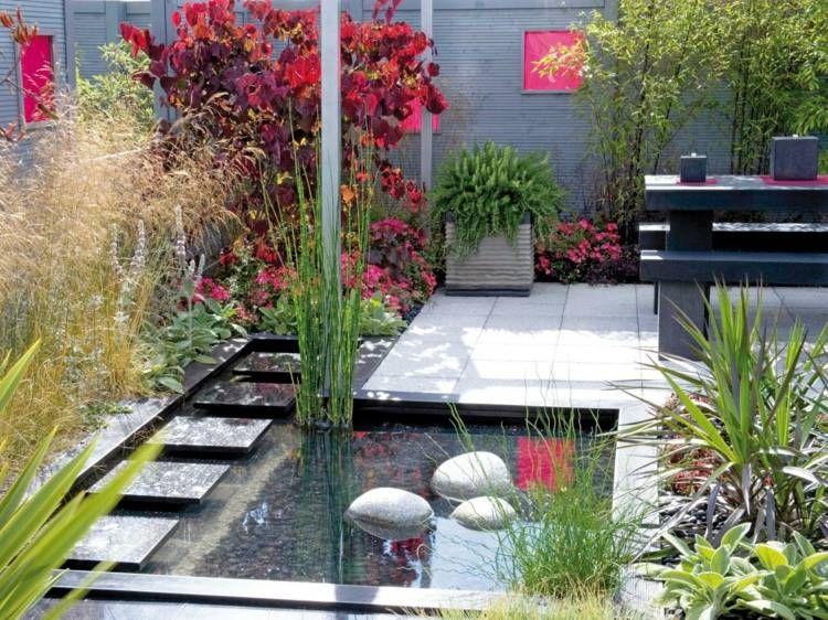 gartenteich im japanischen stil im hinterhof garden. Black Bedroom Furniture Sets. Home Design Ideas