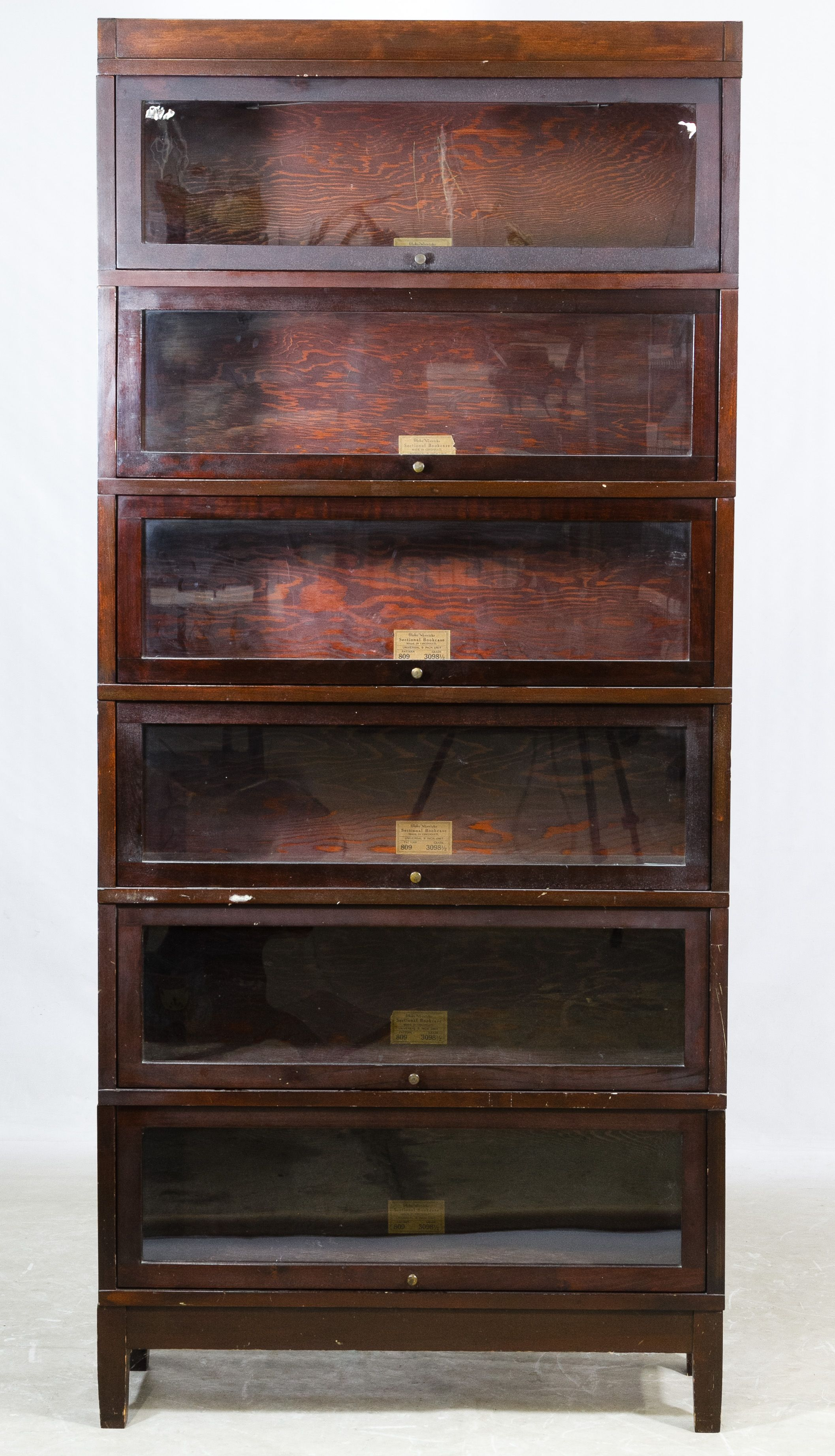 Lot 57 Mahogany Barrister Bookcase By Globe Wernicke Six Section With Base And Cap