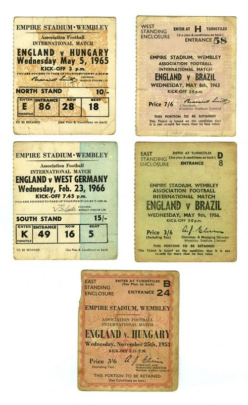 Match Tickets for the following games at Wembley Stadium: England v Hungary, 25th November 1953; England v Brazil, 9th May 1956; England v Brazil, 4th May 1963; England v Hungary, 5th May 1965; England v West Germany, 23rd February 1966.