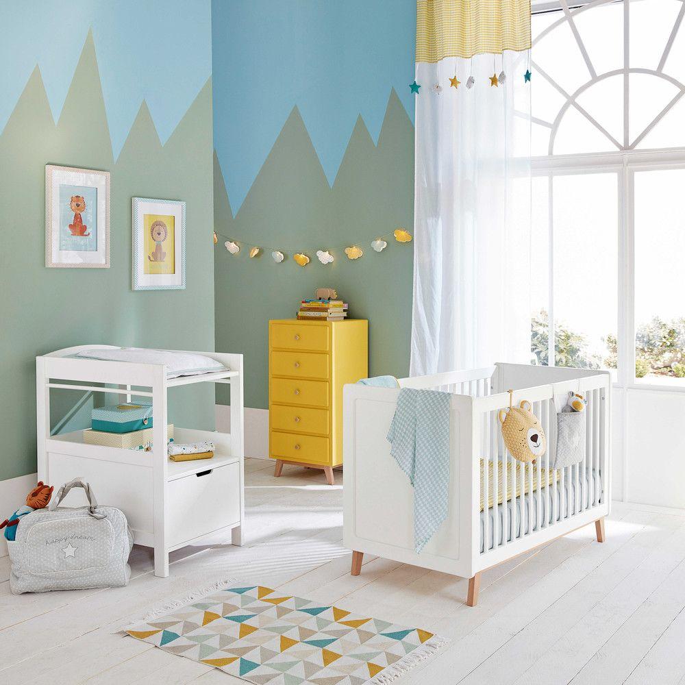 Rideau passants en coton blanc jaune 110 x 250 cm for Belle chambre bebe