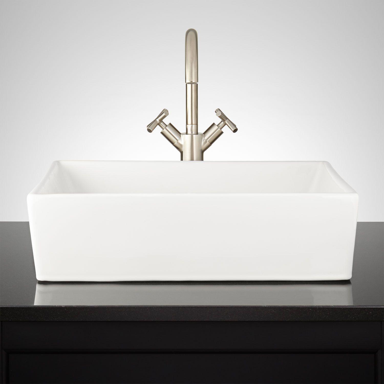 Abbett Rectangular Porcelain Vessel Sink Vessel Sinks Bathroom