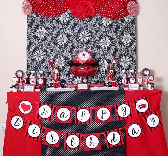 Lady Bug Birthday Party Invitation Lady bugs Birthday decorations