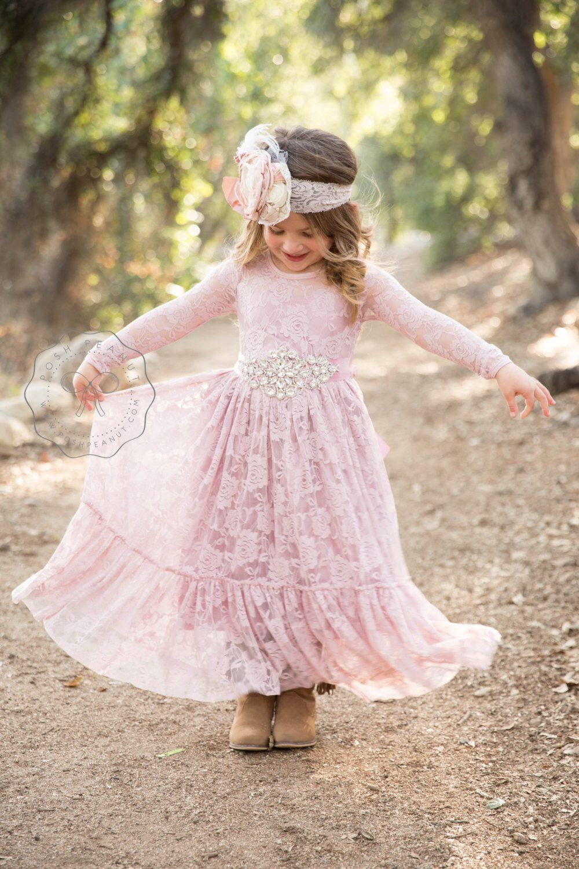 Dusty Rose Flower Girl Dress Lace Flower Girl Dresses Mauve Lace