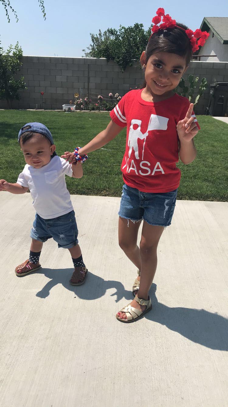 NASA shirt from Target. Girls denim shorts from H&M