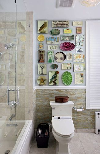 Plate collection in bathroom.  Fletcher photography