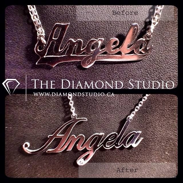 Check out my latest Diamond Studio makeover! My client received the necklace as a gift from her parents. She felt that the quality of the workmanship was lacking, mainly the unevenness of the letters and the overall chunky feel of the piece. See for yourself the difference in quality in the remade version. The style is more delicate and the letters are smooth and even. I even gave it a touch of diamondboi bling! #diamond #diamonds #jewellery #jewelry #necklace #pendant #style #fashion #bling