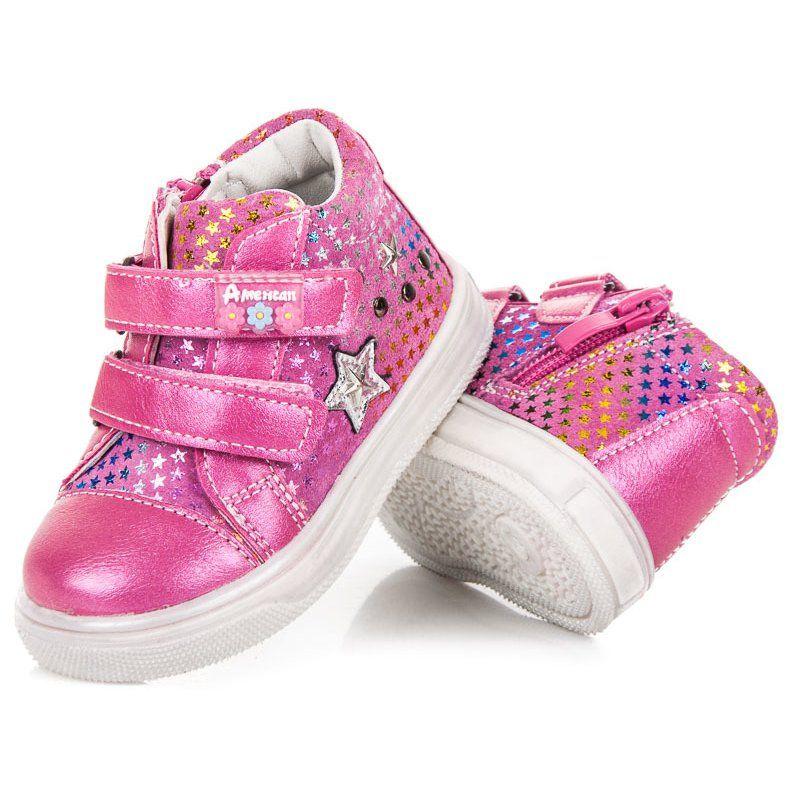 Buty Sportowe Dzieciece Dla Dzieci Americanclub American Club Rozowe Sportowe Buciki W Gwiazdki Baby Shoes Shoes Fashion
