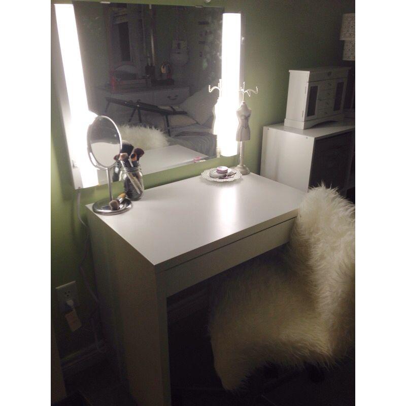 makeup and hair vanity ikea micke desk ikea mirror ikea swivel chair with