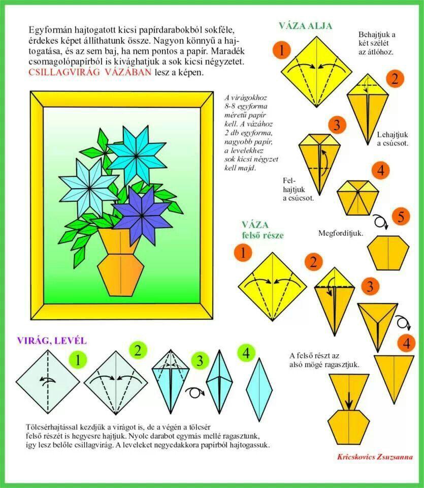 Vaso E Flores Origami Flowers Pinterest Diagrams