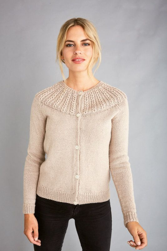 Chloe: Cabled yoke knitted cardigan in Patons Diploma Gold ...