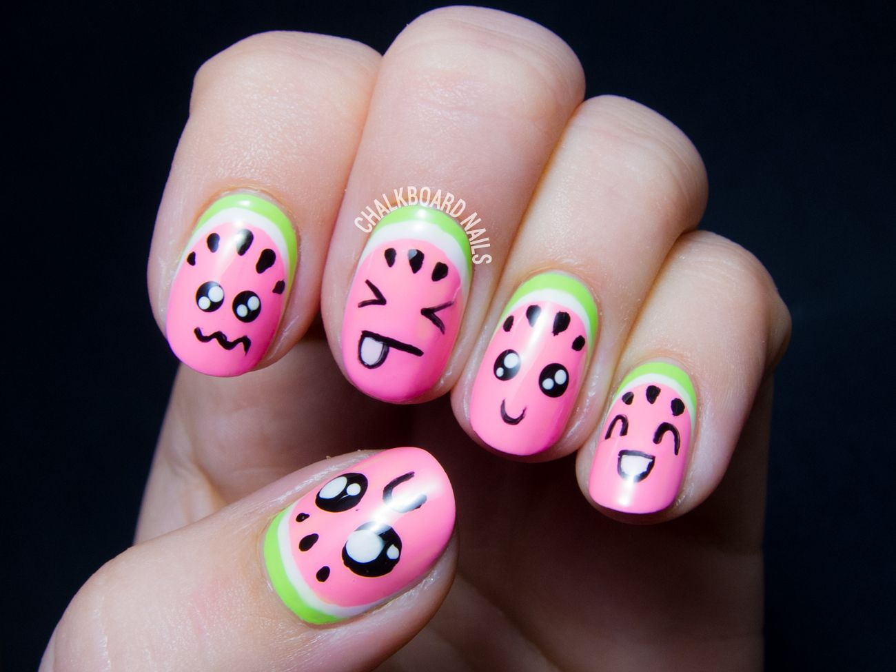 Kawaii Watermelons, or How to Make Your Fruit Cute | Summer Nails ...