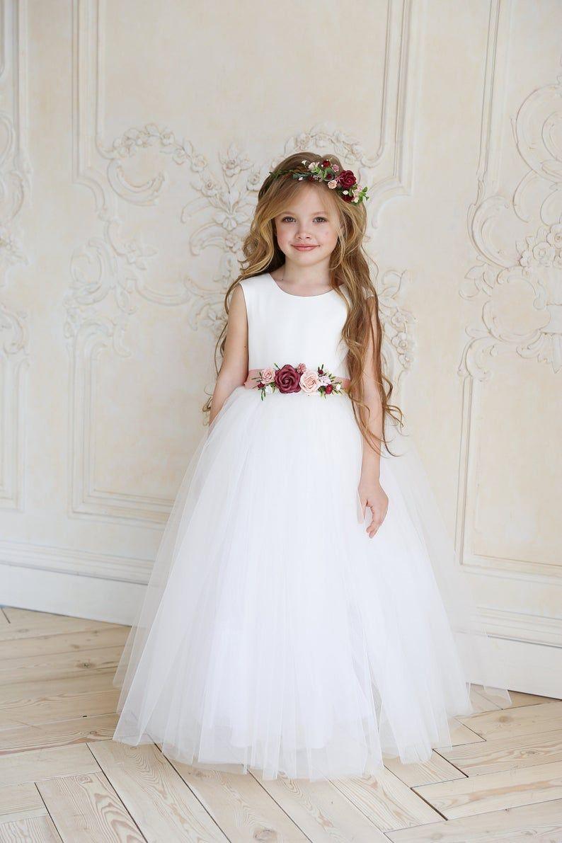 Verwonderend Bloemenmeisje jurk, witte bloemenmeisje jurk Tulle, ivoor OV-41