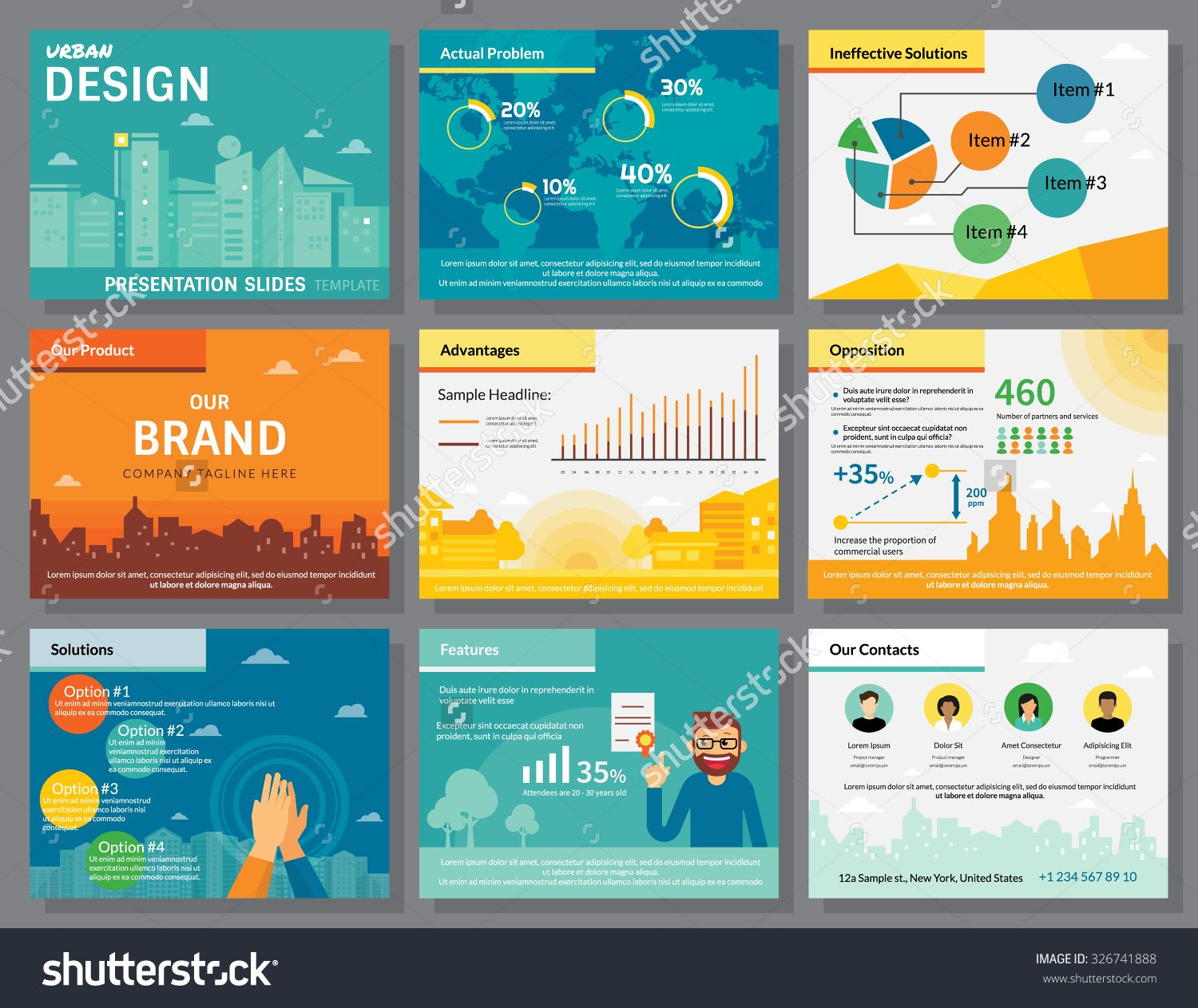 Urban design of infographics presentation slides template with flat urban design of infographics presentation slides template with flat illustrations of city buildings world map toneelgroepblik Choice Image