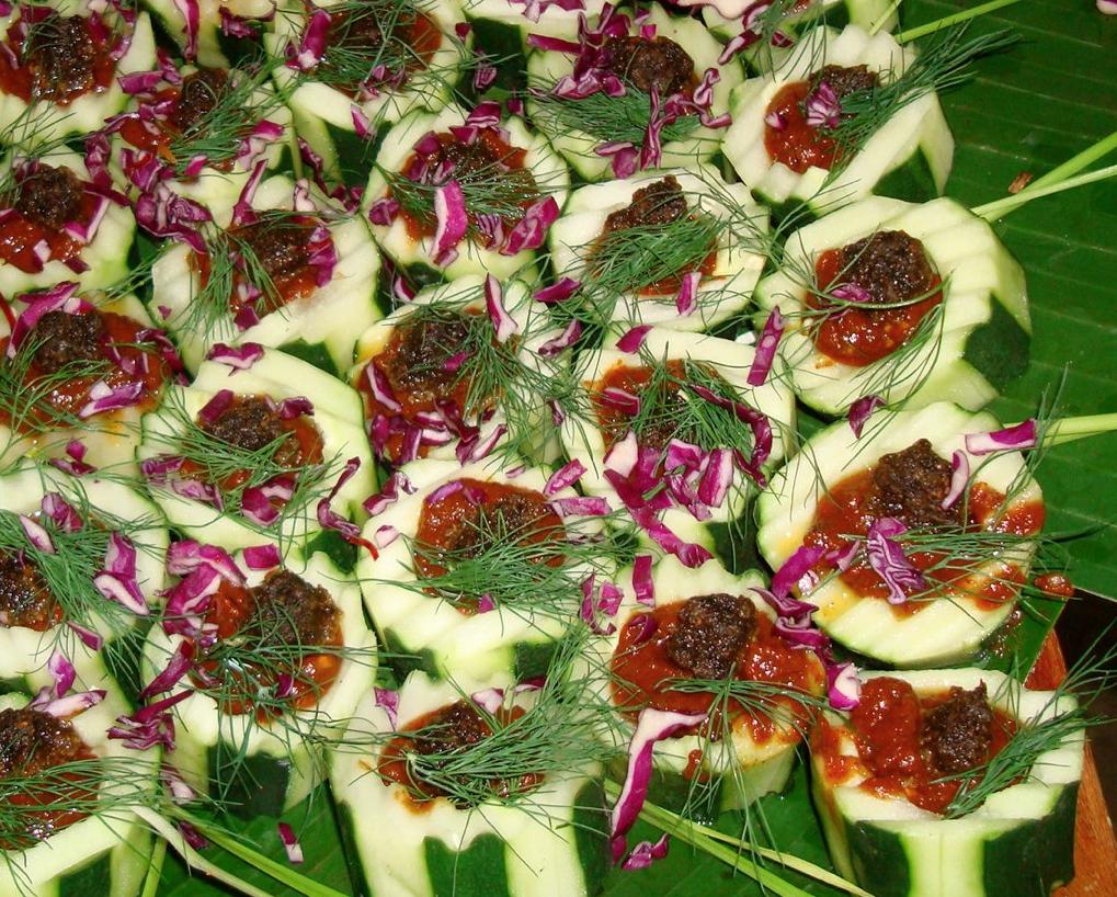Cucumber canapes/neat balls/raw BBQ sauce. Raw Chef Eric Rivkin