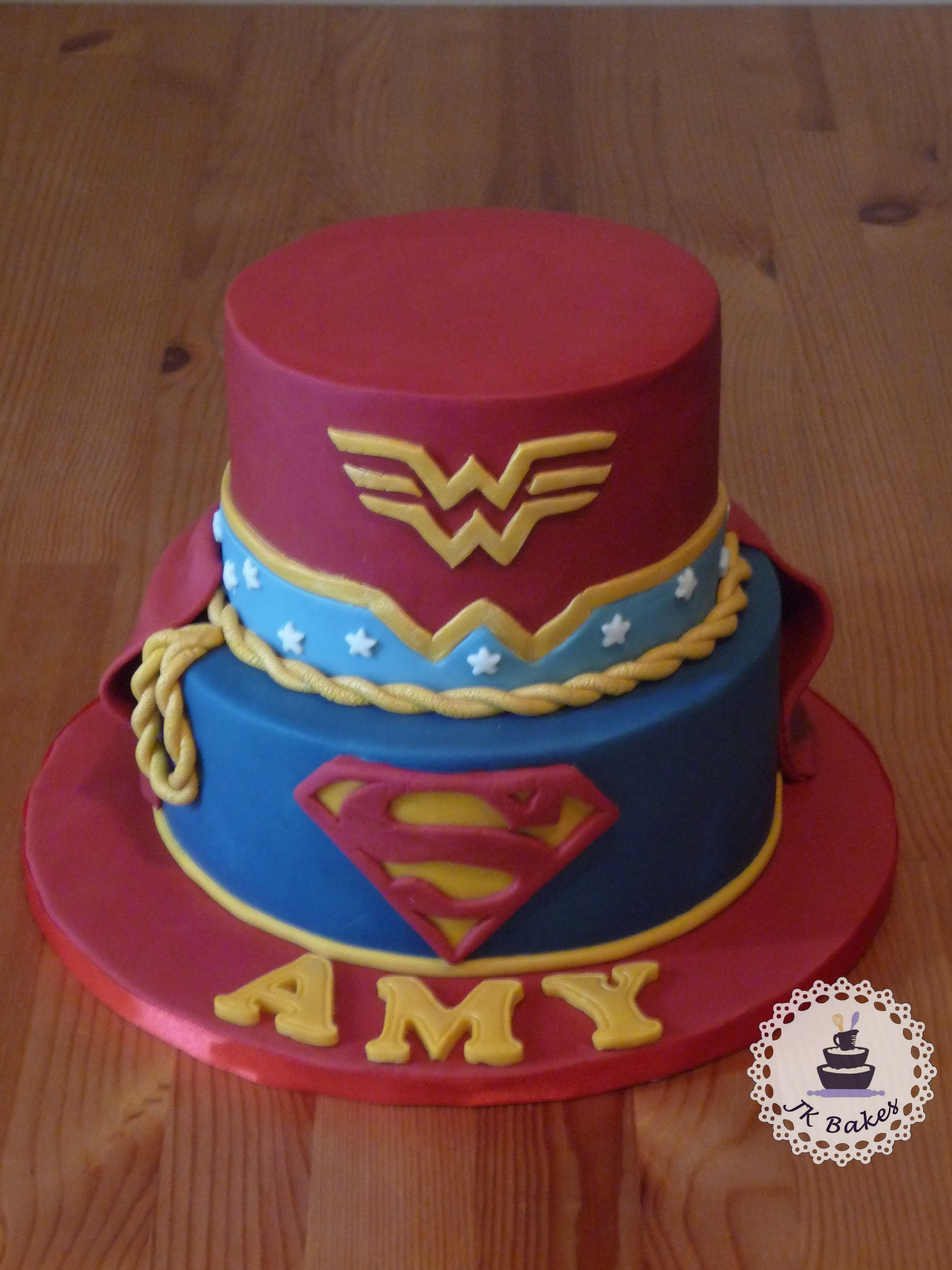 super girl and wonder woman cake Cakes Pinterest Wonder woman