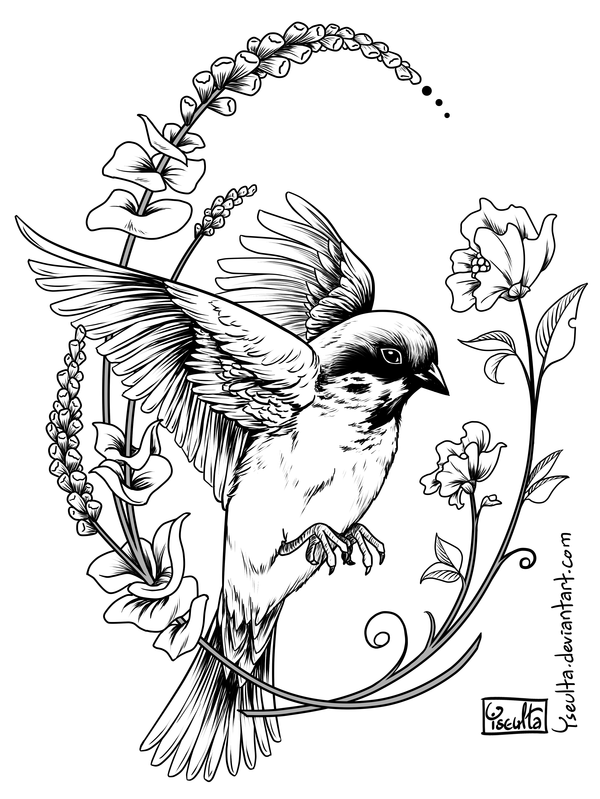 Silly Sparrow Tattoo By Yseulta Bird Drawings Fly Drawing