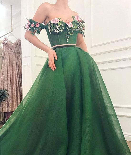 Green sweetheart off shoulder long prom dress, gre