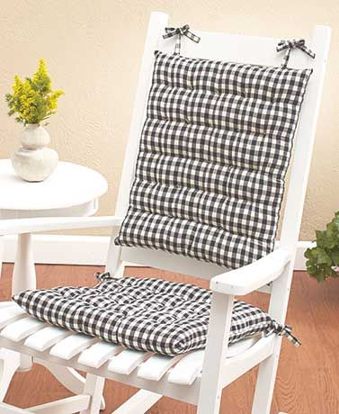 2 Pc Rocking Chair Cushions Makeup Country Check Cushion Sets Front Porch