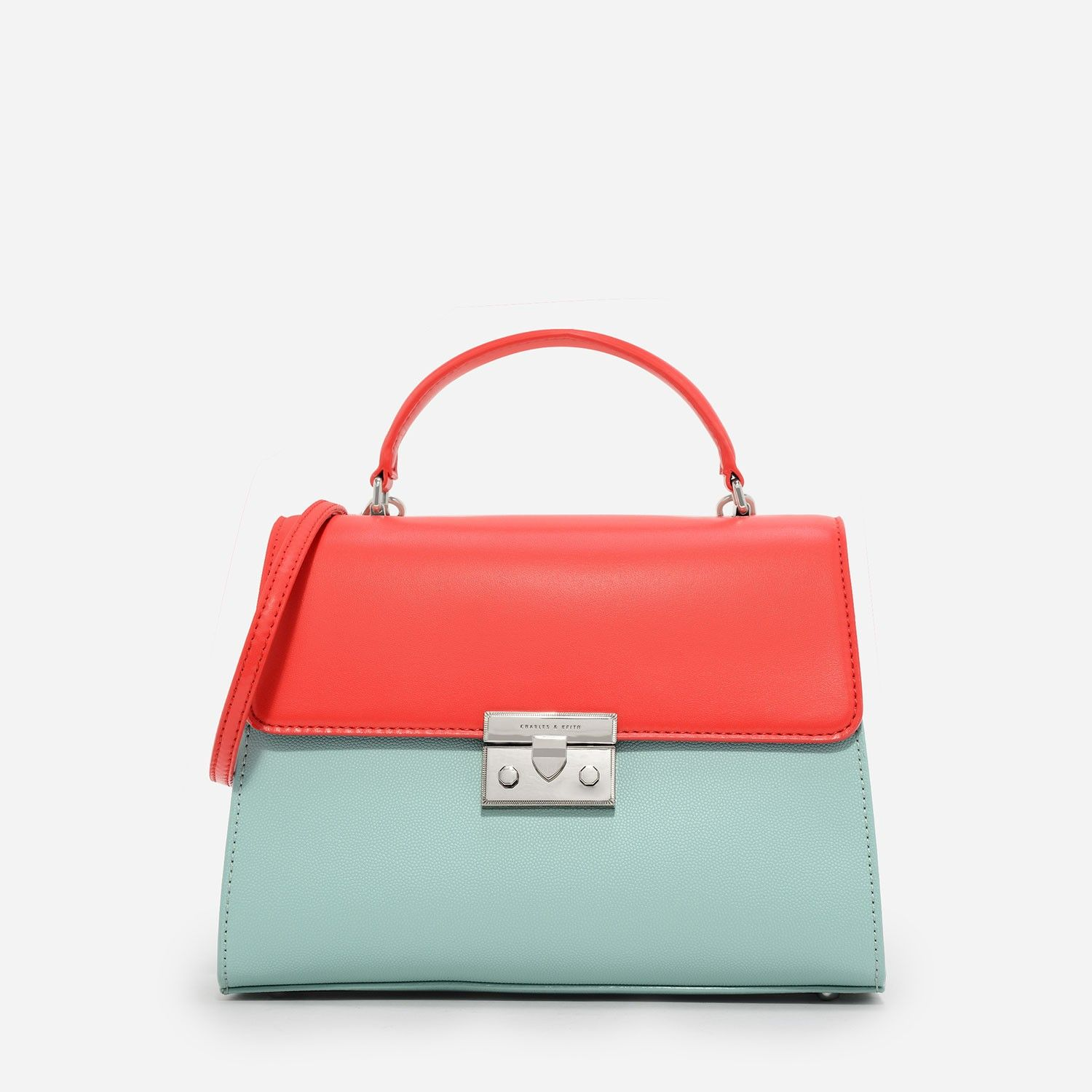 CHARLES & KEITH - Bags. Coral two-tone mid-sized top handle bag