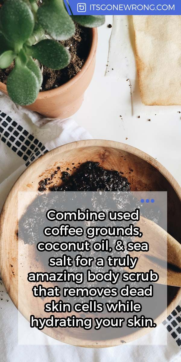 Combine used coffee grounds, coconut oil, & sea salt for a truly amazing #body scrub that remo ...