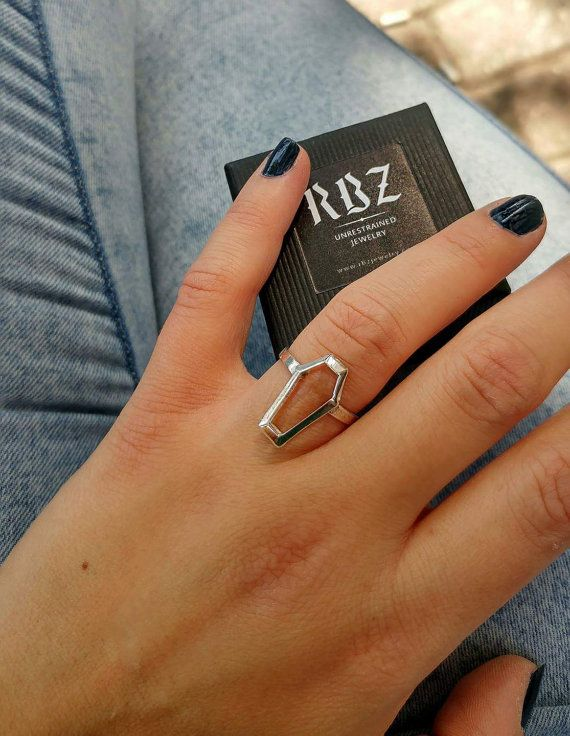 Silver coffin ring gothic ring gothic jewelry by RBZjewelry