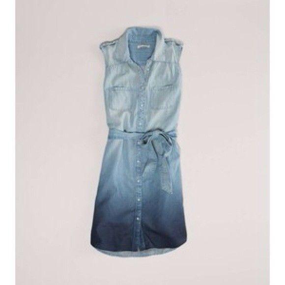 Womens American Eagle AE  ombre chambaray sleeveless denim dress tie waist SZ SM #AmericanEagleOutfitters #ShirtDress #Casual