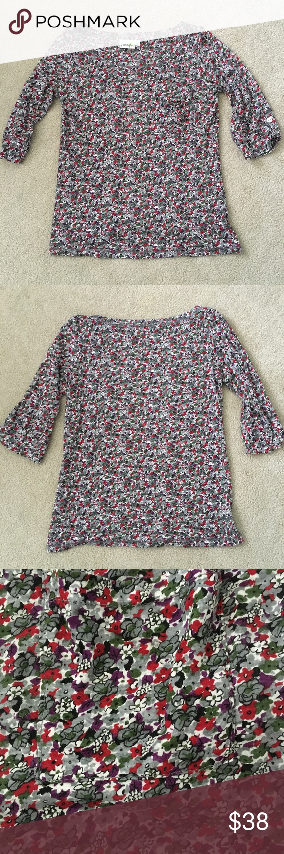 "Porridge🌺Floral 3/4 Sleeve Pocket Tee Beautiful preloved condition, no stains or marks. Pretty floral print on this super soft, supima cotton and micro modal lightweight tee. Pocket on chest. Three quarter sleeves with button tab detail. Armpit seam to seam measures 18"" across, length 23.5"". Anthropologie Tops"