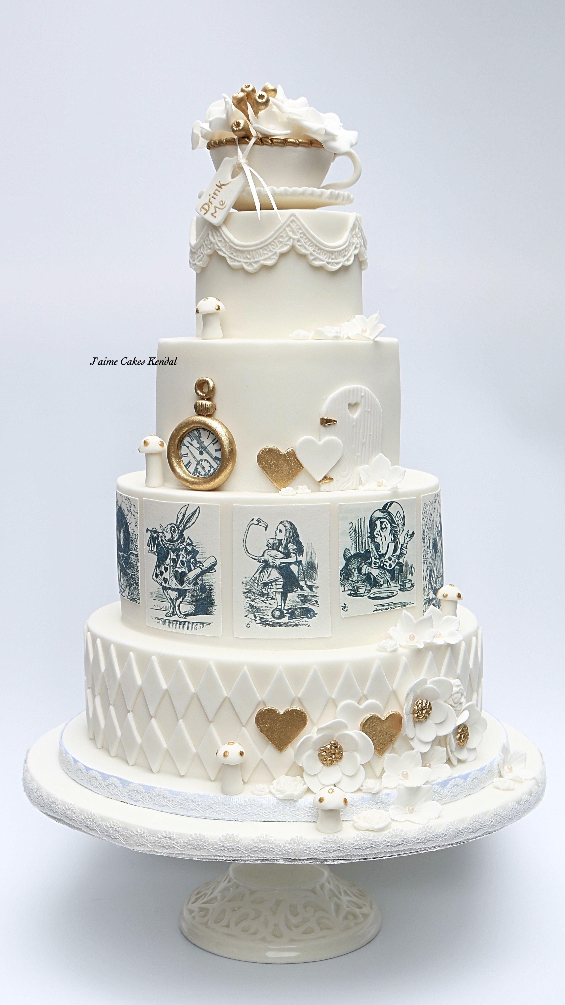 Alice in Wonderland themed wedding cake by http://www ...