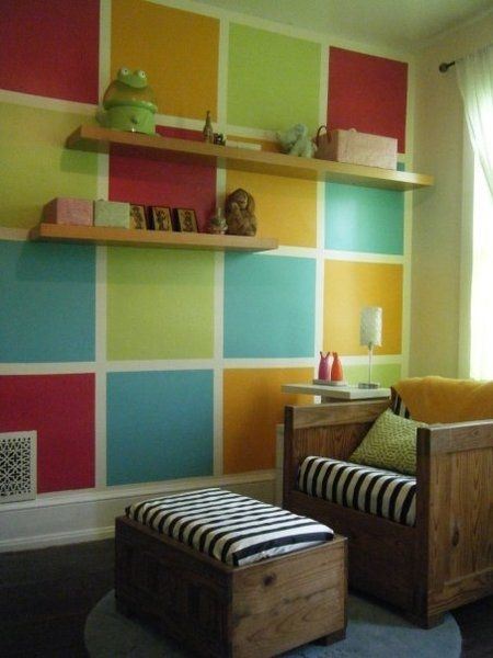 Love this accent wall. For a boy orange, brown, blue.  Home Comfort  Pinterest