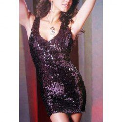 """""""I want it for #HolidayParty this year!"""" $10.28 Sexy Plunging Neck Blink Sequin Embellished Sheath Dress"""