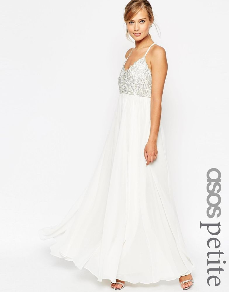 ASOS PETITE SALON Cami Strap Embellished Maxi Dress In White UK 8 EU 36