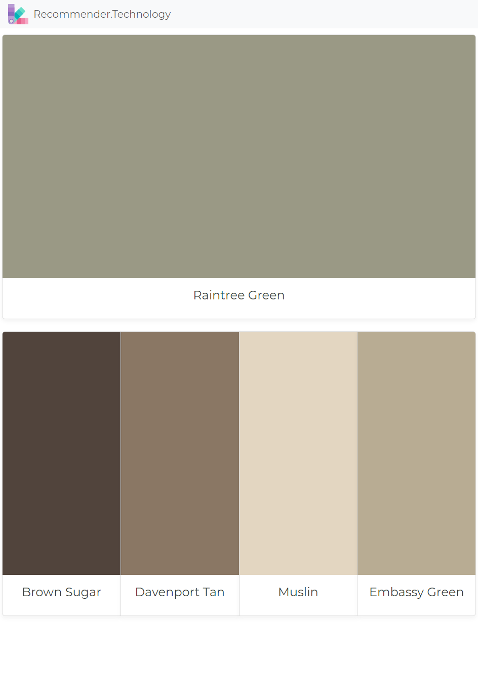 Raintree Green Brown Sugar Davenport Tan Muslin Emby Paint Color Palettes