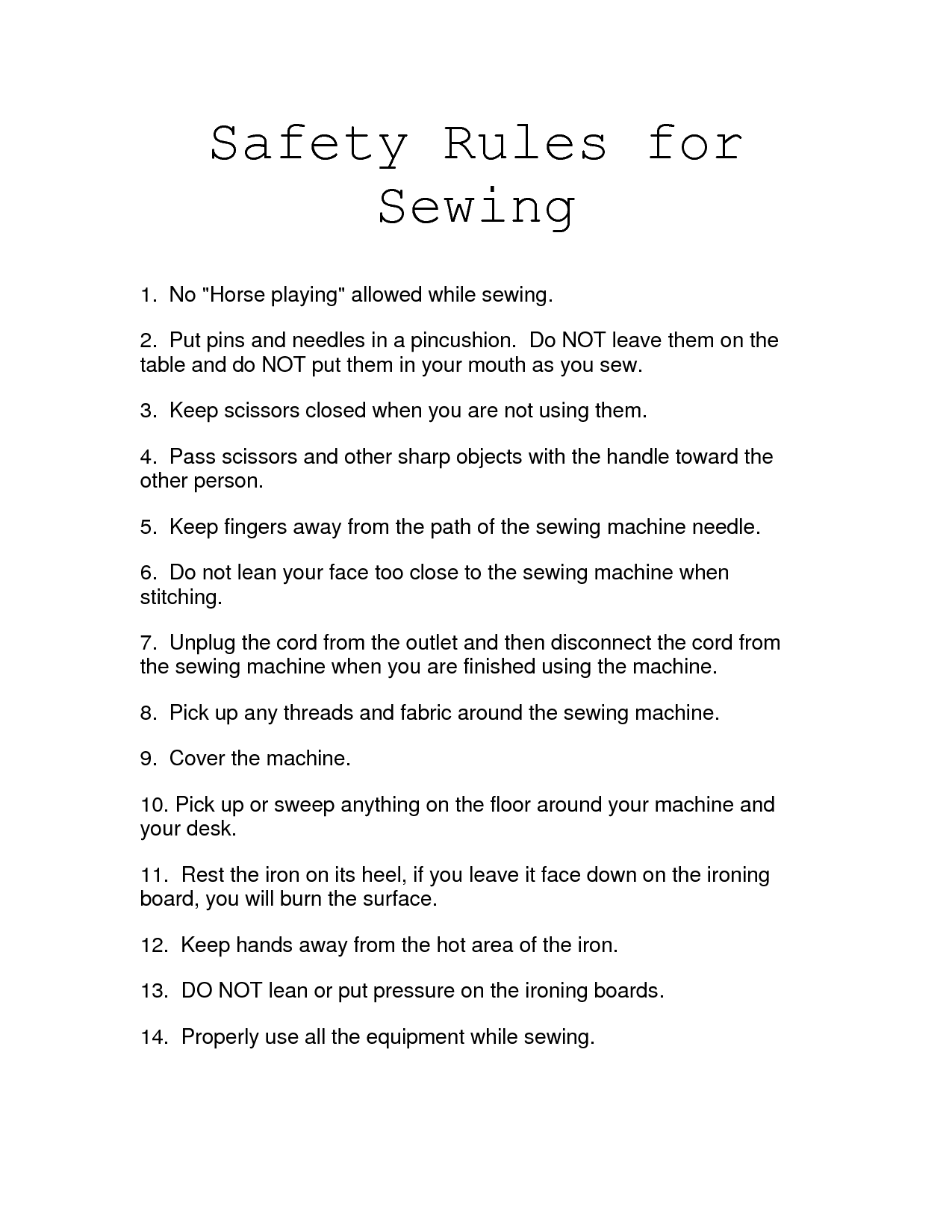 Sewing Lab Safety