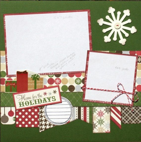 Premade Scrapbook Page 12 X Christmas Layout Home For The