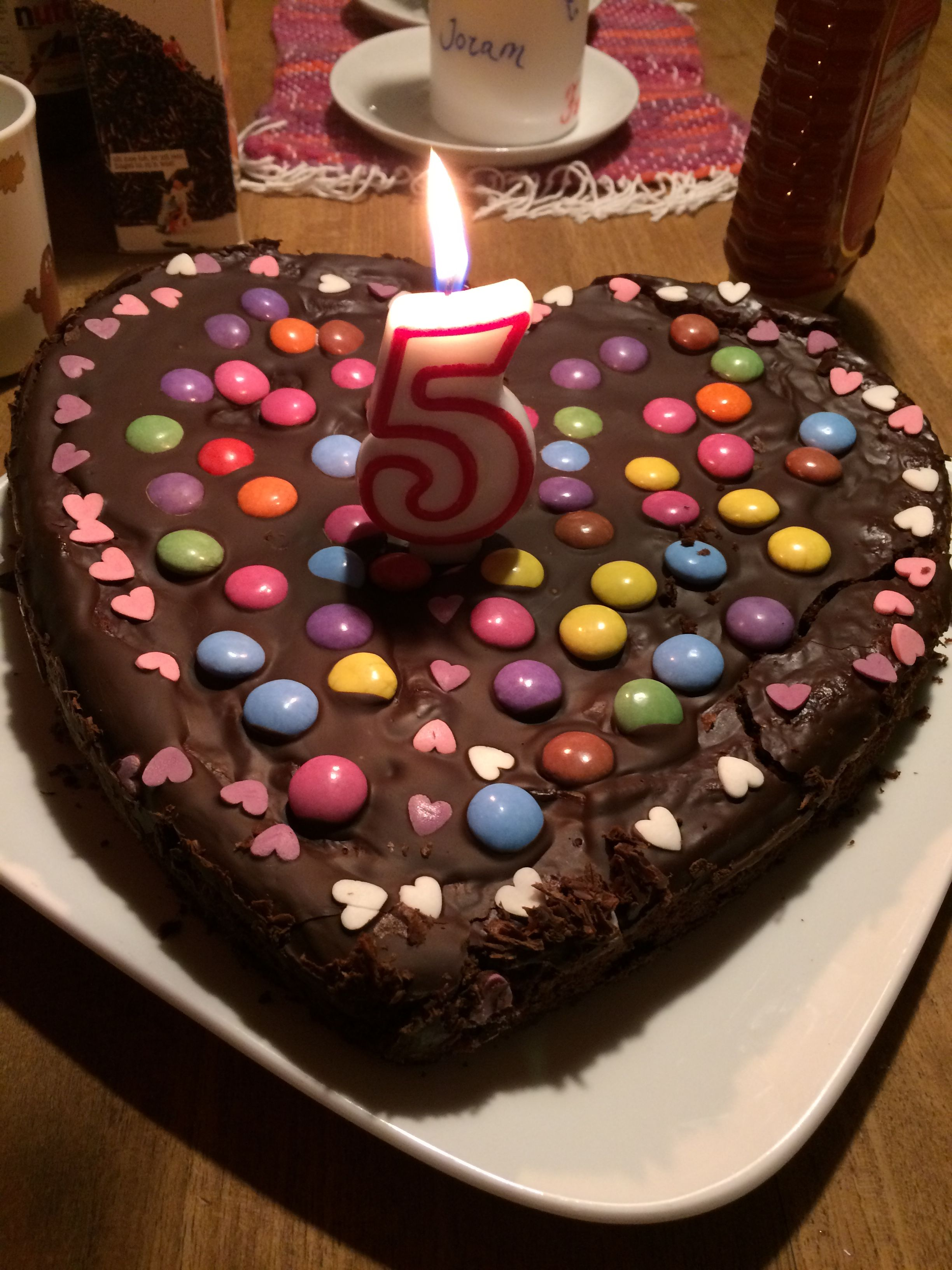 Birthday Cake 5 Year Old Girl Chocolate Cake Heart Covered With