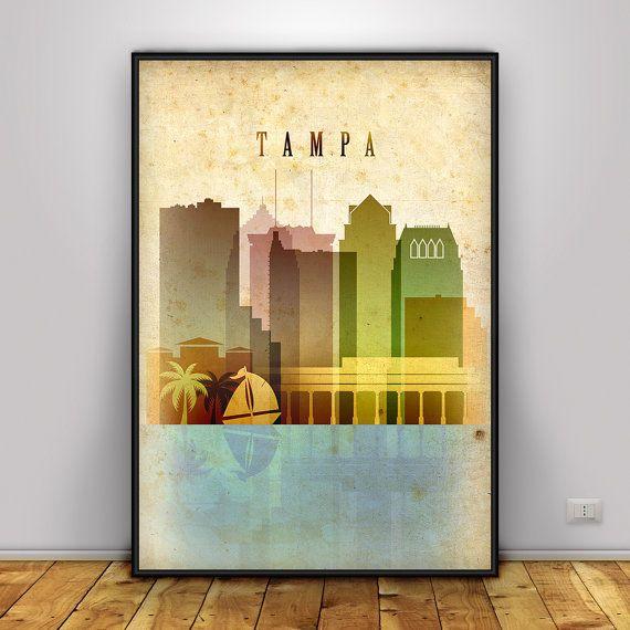 Tampa Print Vintage Style Wall Art Florida Cityscape Skyline City Poster Typography Decor Travel