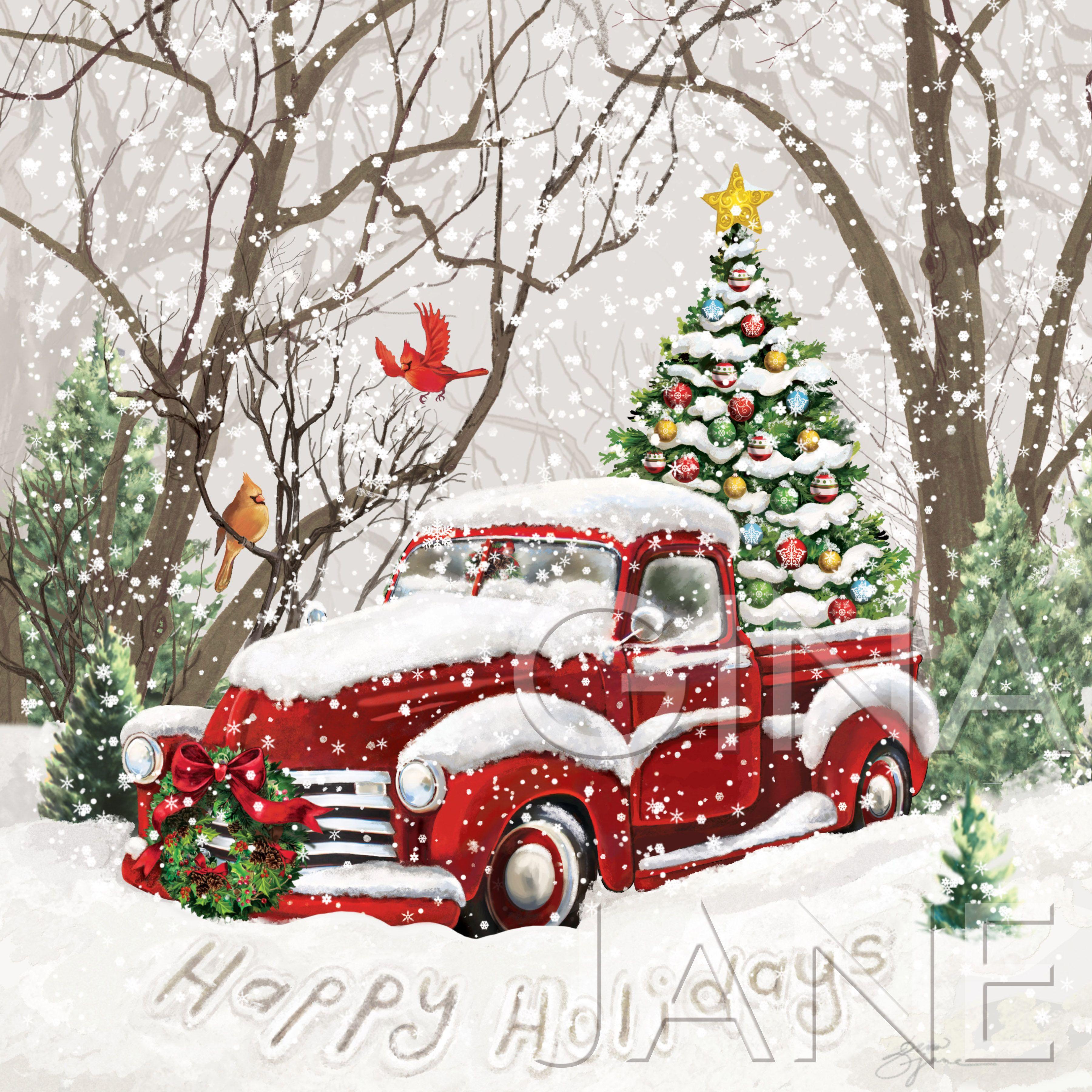 Vintage DIY Craft Decor Red Truck Christmas Tree Happy Holidays Printable Home Decor | Christmas ...