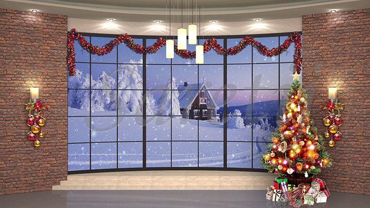 87hd Christmas Tv Virtual Studio Green Screen Xmas Tree Snowfall Gifts Virtual Studio Studio Green Greenscreen