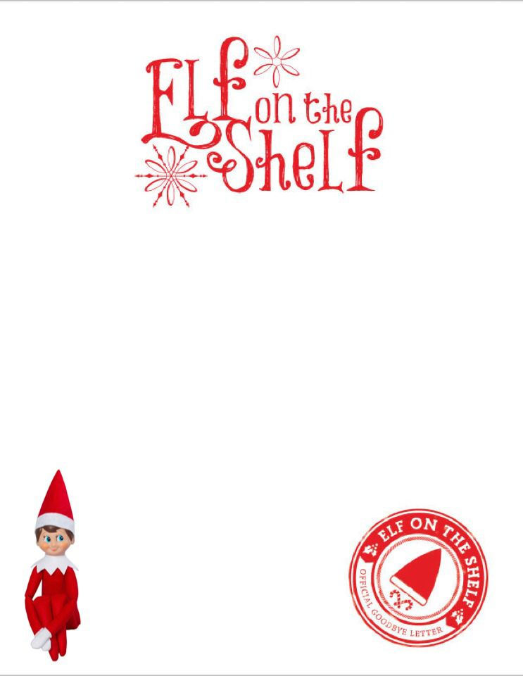 Blank Elf Letter With Elf Picture Elf On Shelf Letter Elf On The Shelf Elf Goodbye Letter