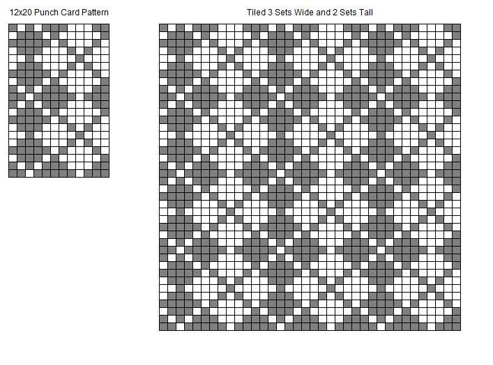 12-Stitch Argyle Machine Knitting Punch Card Pattern Chart ...