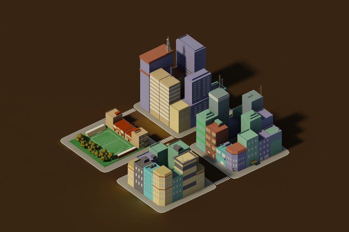 Low poly pack of 4 blocks Poly, Low poly, Blocks