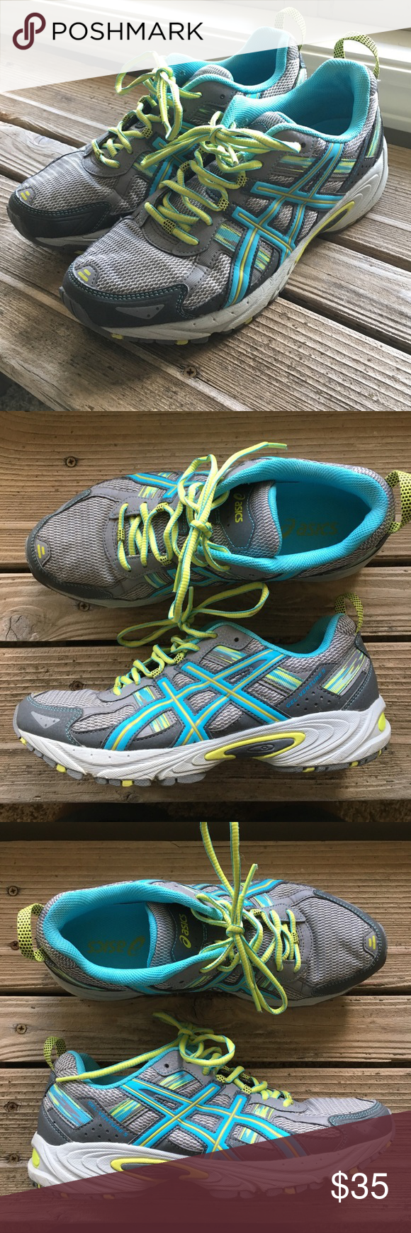 Asics Women's Gel Venture 5D Trail Running Shoes -2016 model - The GEL -Venture 5 provides great fit with rear foot cushioning and a rugged outsole which is ideal for all terrains.  -Model is T5N9N (D) - SIZE 9 1/2 US 41.5 Euro  - In almost new condition Asics Shoes Sneakers