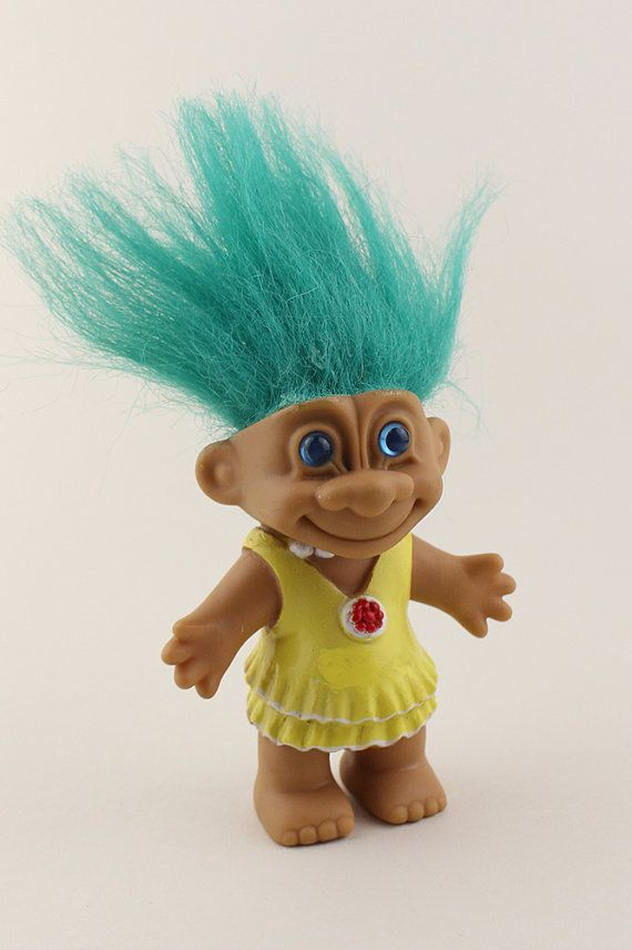 Green Hair Troll Doll With Solid Yellow Plastic Dress And Red Eyes Dolls
