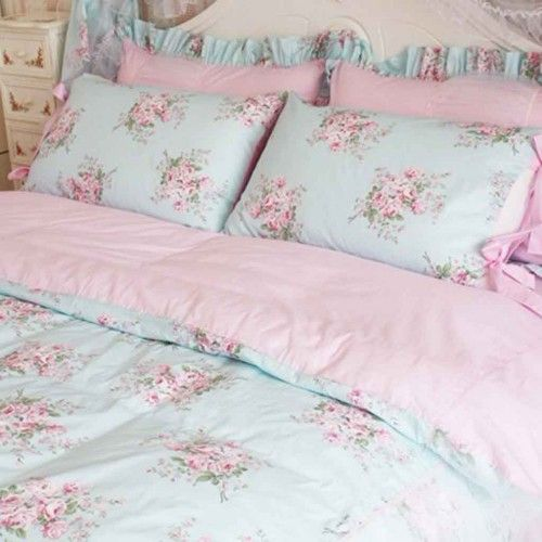 bed set chic shabby comforter and rose pin blue sets queen bedding