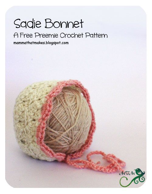 Mamma That Makes: 10. Sadie Preemie Bonnet | bebes | Pinterest | Bebe