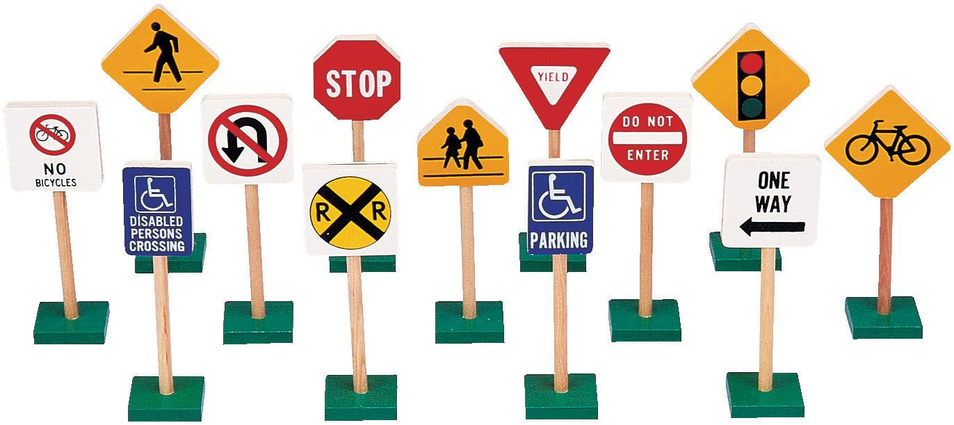 """Block Play Traffic Signs, 7"""" This set teaches sign"""