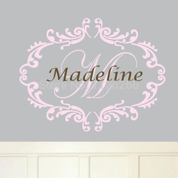 Visit To Buy Personalized Name Wall Sticker Frame And Initials - Advertize monogram wall decals