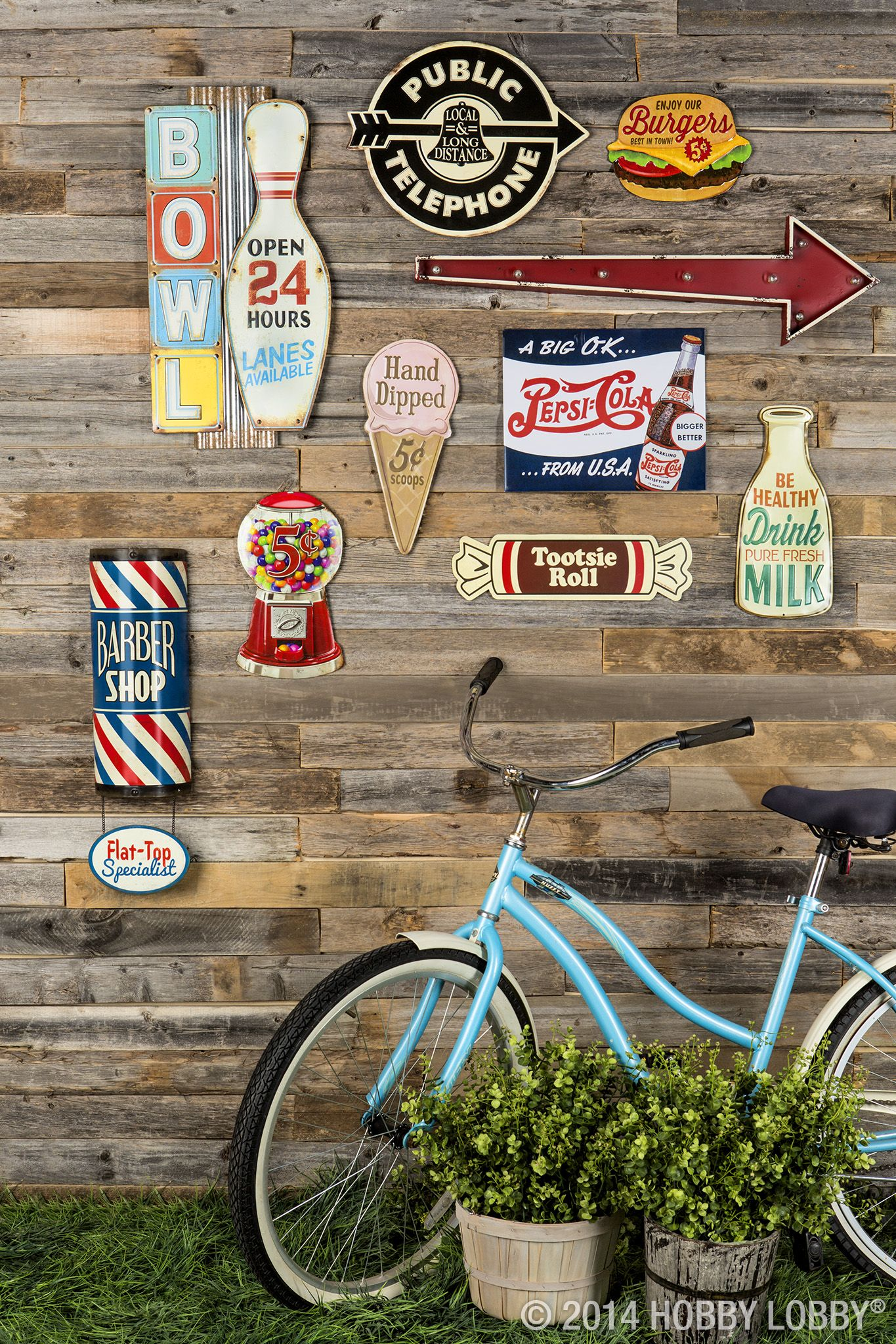 Step back in time with our classic metal signs! This always-in-style décor will add retro flare to your home or office. #collageboard