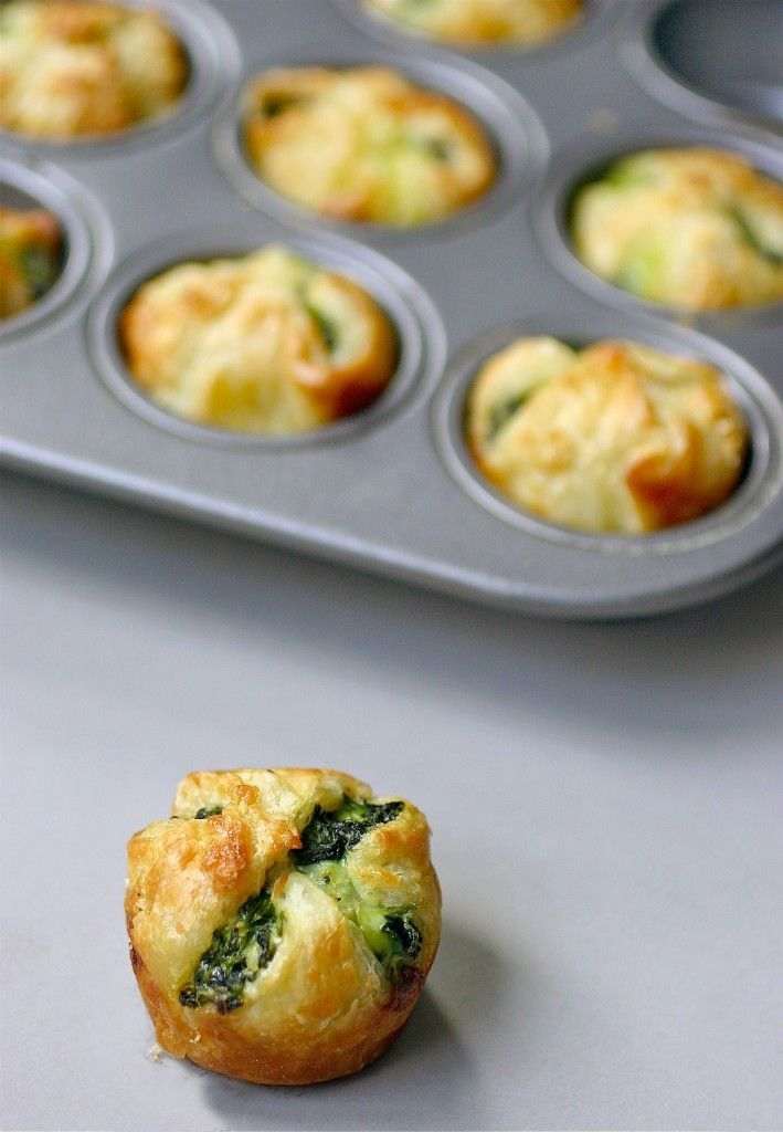 Spinach puffs feta spinach and wraps for Puff pastry canape ideas