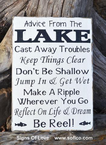 Advice From A Lake Sign Lake House Decor Carova Beach Crafts Wall